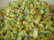 Guacamole dip food. Guacamole avocado based dip created by the Aztecs in Mexico stock photography