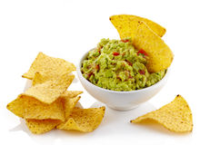 Guacamole dip and nachos Royalty Free Stock Image