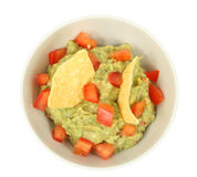 Guacamole dip with tortilla chips Stock Images