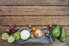 Guacamole e ingredientes mexicanos de la receta Imagen de archivo