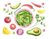 Guacamole e ingridients - salsa mexicana tradicional del aguacate en cuenco libre illustration