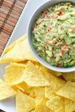 Guacamole e nachos Foto de Stock Royalty Free