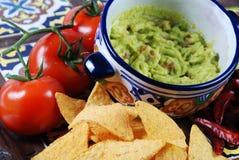 Guacamole en nachos stock foto's
