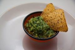 Guacamole et nachos image libre de droits