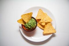 Guacamole et nachos images libres de droits