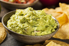 Guacamole fait maison vert avec des puces de tortilla Photographie stock