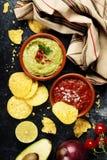 Guacamole hecho en casa verde con los microprocesadores y la salsa de tortilla fotos de archivo