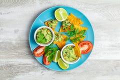 Guacamole i nachos z składnikami na tle światło - szara drewniana deska obraz stock