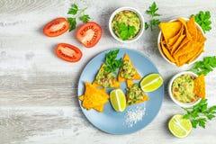 Guacamole i nachos z składnikami na tle światło - szara drewniana deska fotografia stock