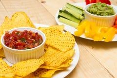 Guacamole i salsa upady Obraz Stock