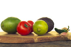 Guacamole ingredients Isolated on white Stock Photo