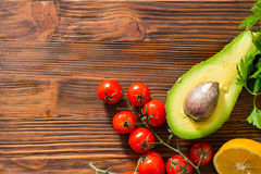 Guacamole ingridients. On wooden table stock image