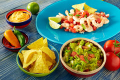 Guacamole mexican food with ceviche and nachos Stock Image