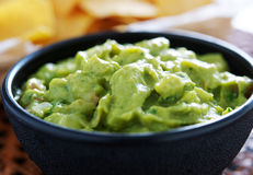 Guacamole in molcajete bowl panorama Royalty Free Stock Photography