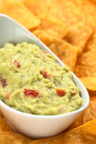 Guacamole with Nachos Stock Photo