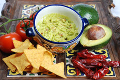 Guacamole and nachos Royalty Free Stock Image
