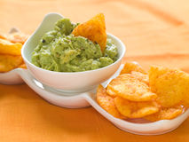 Guacamole with nachos Stock Photos