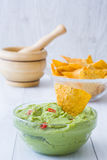 Guacamole with nachos Royalty Free Stock Photography
