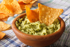 Guacamole and nachos chips close up in a wooden bowl. Horizontal Stock Photography