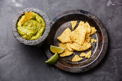 Guacamole with nachos chips Stock Photography