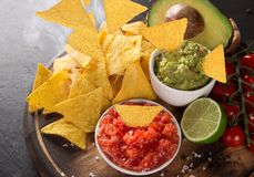 Guacamole with nachos in freeze motion Stock Image