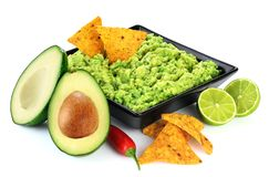 Guacamole nachos and guacamole ingredients isolated on white background. With clipping path Stock Images
