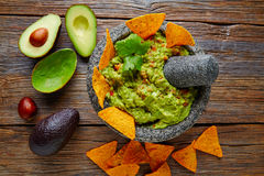 Guacamole with nachos in Mexican molcajete Stock Photography
