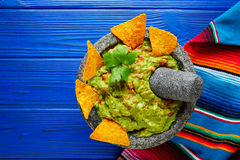 Guacamole with nachos in Mexican molcajete Royalty Free Stock Photography