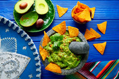 Guacamole with nachos in Mexican molcajete Stock Images