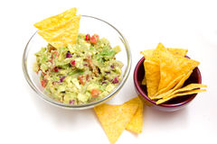 Guacamole and nachos Royalty Free Stock Photos