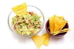Guacamole and nachos Royalty Free Stock Photos