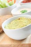 Guacamole, Onderdompelingen Hummus en Salsa Royalty-vrije Stock Afbeelding