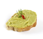 Guacamole salad on bread Stock Images