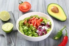 Guacamole salad handmade preparation Royalty Free Stock Photography