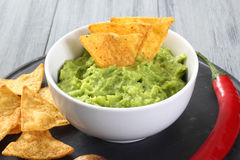 Guacamole salad with tortillas Royalty Free Stock Images