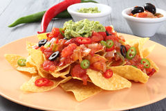 Guacamole salad with tortillas Royalty Free Stock Photo
