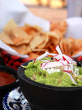 Guacamole, salsa and chips Stock Images