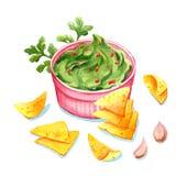 Guacamole - salsa mexicana tradicional del aguacate en arco ilustración del vector