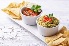 Guacamole, salsa σάλτσας ντοματών και nachos τσιπ στοκ φωτογραφίες με δικαίωμα ελεύθερης χρήσης