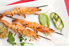 Guacamole Spicy Whole Grilled Shrimps Stock Image