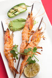 Guacamole Spicy Whole Grilled Shrimps Stock Photo