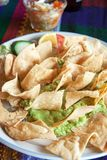 Guacamole with tacos. A dish of guacamole with tacos Stock Images