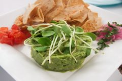 Guacamole with tacos. A dish of mexican guacamole with tacos Stock Images