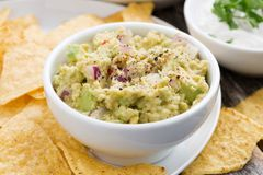 Guacamole, tomato salsa and corn chips, closeup Stock Photography