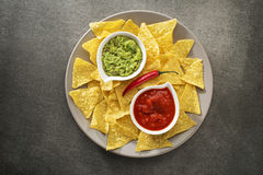 Guacamole and tomato salsa Stock Photography
