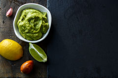 Guacamole. Top view of Homemade Guacamole with Copy space royalty free stock image