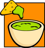 Guacamole and tortilla chip. Illustration of a guacamole bowl with a tortilla chip Royalty Free Stock Photography