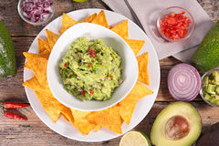 Guacamole and tortilla chip Royalty Free Stock Image