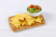 Guacamole with tortilla chips Royalty Free Stock Image