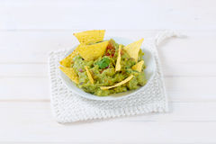 Guacamole with tortilla chips Stock Image